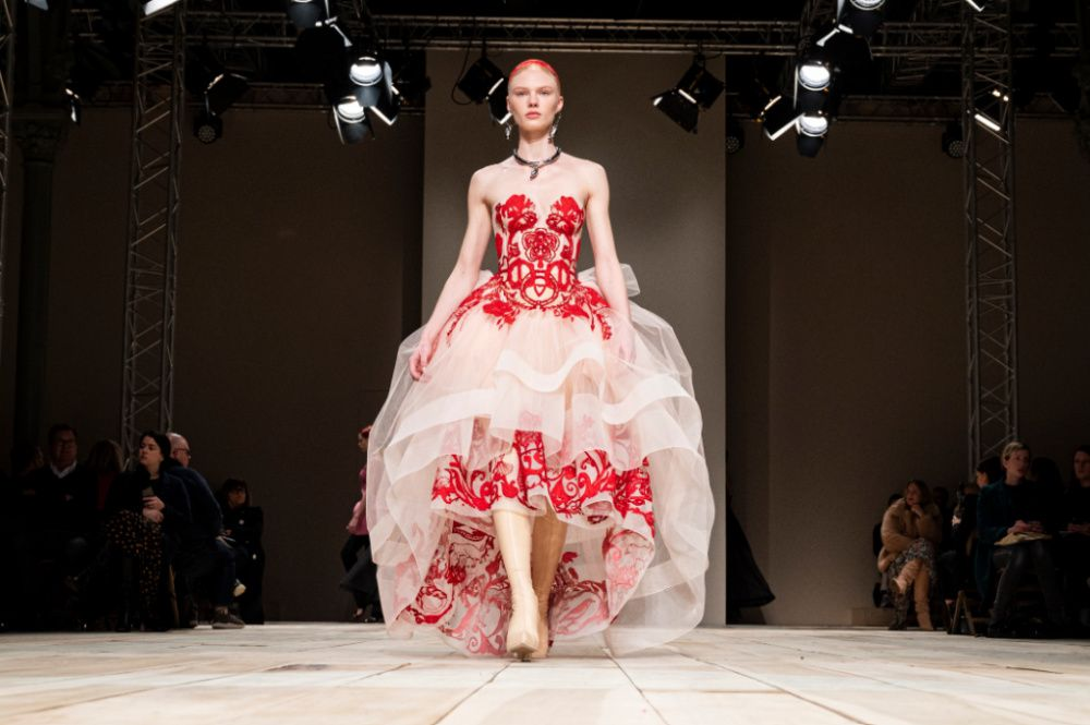 From the Alexander McQueen runway in Paris, Fall/Winter 2020/2021 collections on March 02, 2020 (Photo by Peter White/Getty Images)