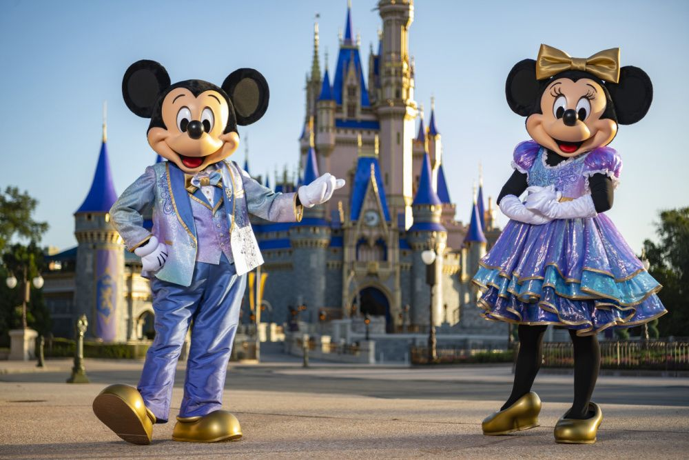 Mickey and Minnie Mouse's new outfits for Walt Disney World's 50th anniversary celebration in October 2021 (photo: Matt Stroshane / courtesy Disney World)