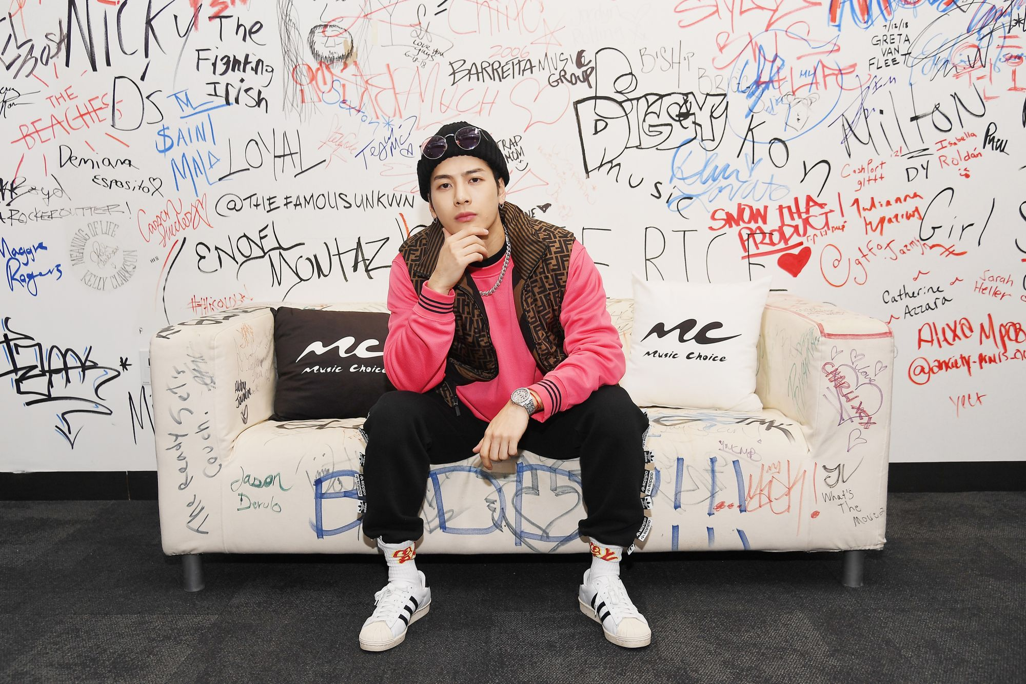 NEW YORK, NEW YORK - FEBRUARY 20: Rapper Jackson Wang Visits Music Choice on February 20, 2019 in New York City. (Photo by Nicholas Hunt/Getty Images)