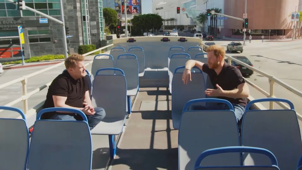 James Corden and Prince Harry on a double decker open-air bus in Los Angeles (photo: Youtube)