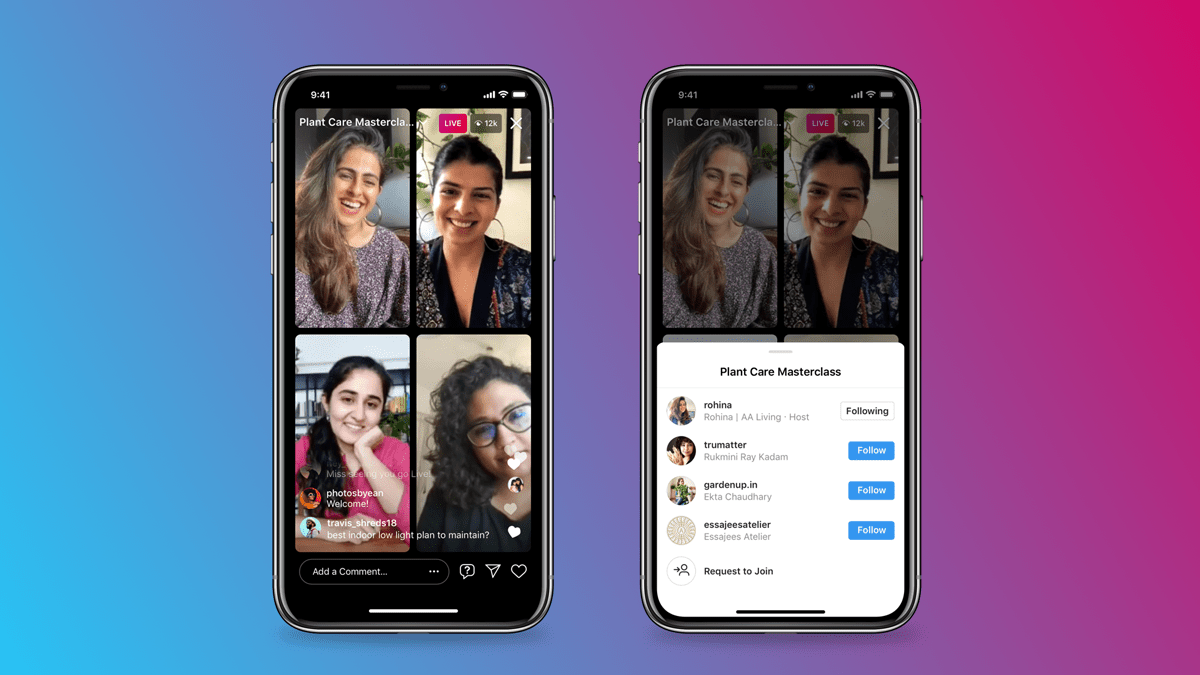 Instagram Live Rooms allow four people into a chat (photo: Courtesy)