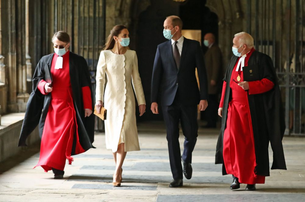 Prince William and Kate Middleton visit a Covid-19 vaccination centre at Westminster Abbey, where the couple was married ten year ago  (Photo by Aaron Chown - WPA Pool/Getty Images)