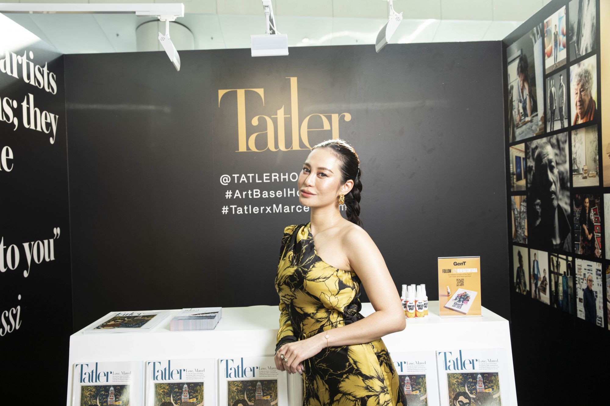 Eleanor Lam poses at the Tatler booth at Art Basel Hong Kong 2021