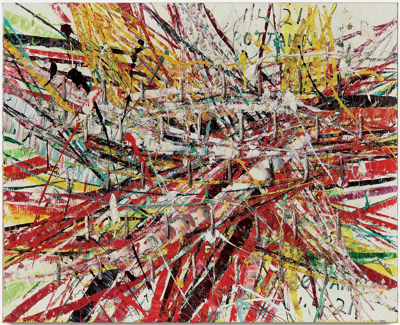 MARK GROTJAHN Untitled (Capri 53.88), 2021 Oil on cardboard mounted on linen 55 x 68 inches 139.7 x 172.7 cm © Mark Grotjahn. Photo: Douglas M. Parker Studio. Courtesy Gagosian.