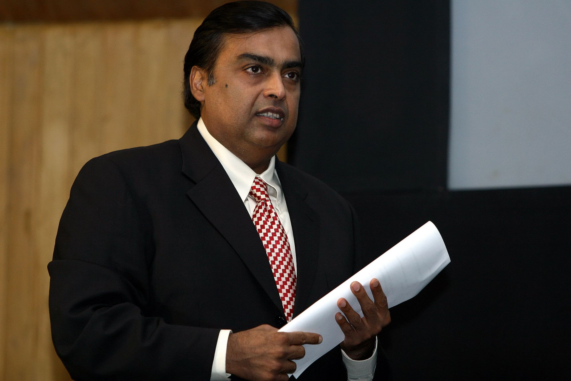 INDIA - AUGUST 21:  Mukesh Ambani, Chairman and MD, Reliance Industries Limited (RIL), Delhi, India.  (Photo by Debasis Palit/The The India Today Group via Getty Images)