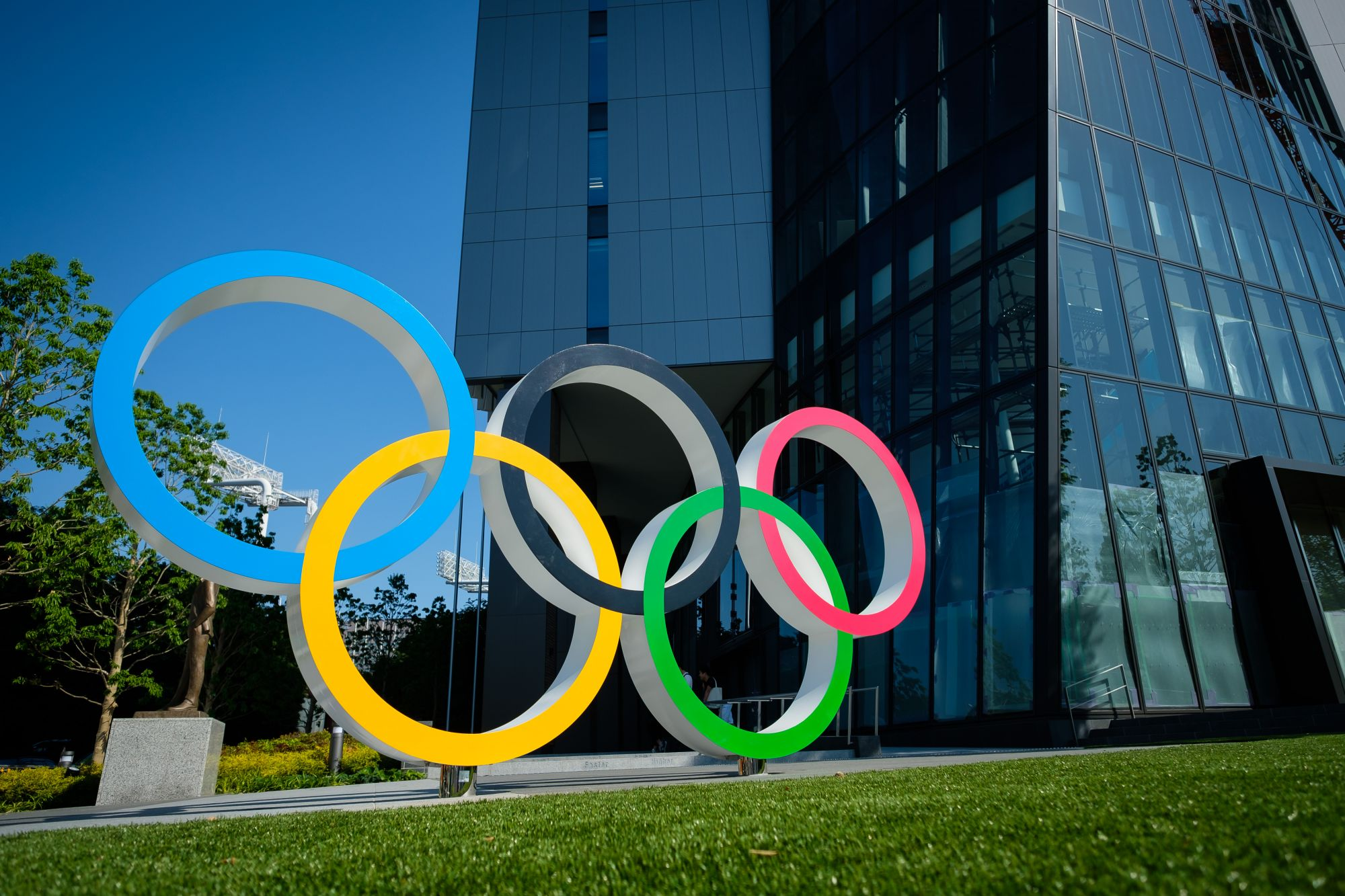 TOKYO, JAPAN - 2019/05/25: Olympic rings are displayed at Japan Sport Olympic Square near Olympic Stadium. Japan will host the Tokyo 2020 Summer Olympics from July 24 to August 9 next year. (Photo by Nicolas Datiche/LightRocket via Getty Images)
