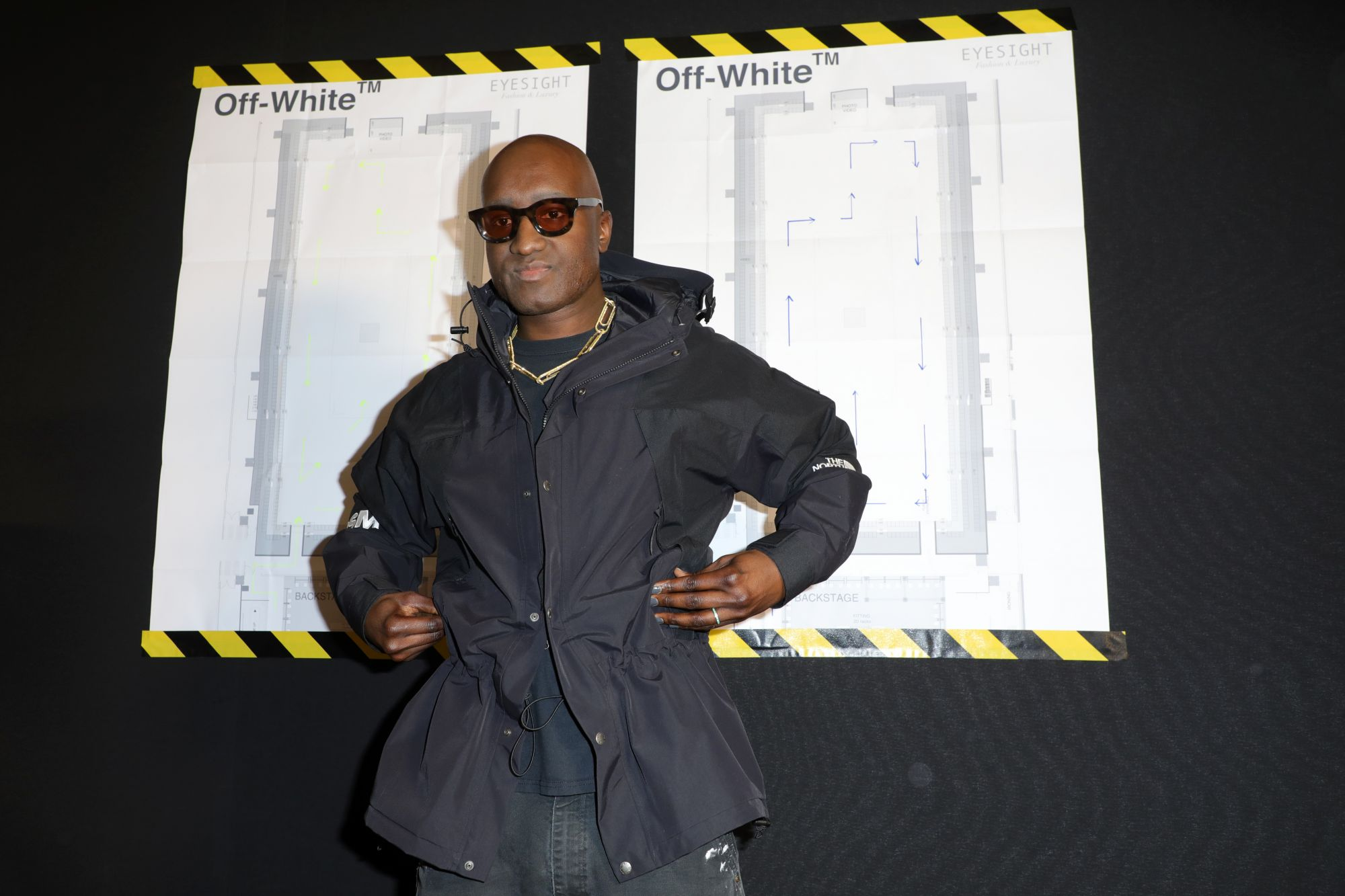 PARIS, FRANCE - JANUARY 15: Designer Virgil Abloh poses backstage after the Off-White Menswear Fall/Winter 2020-2021  show as part of Paris Fashion Week on January 15, 2020 in Paris, France. (Photo by Pierre Suu/Getty Images)