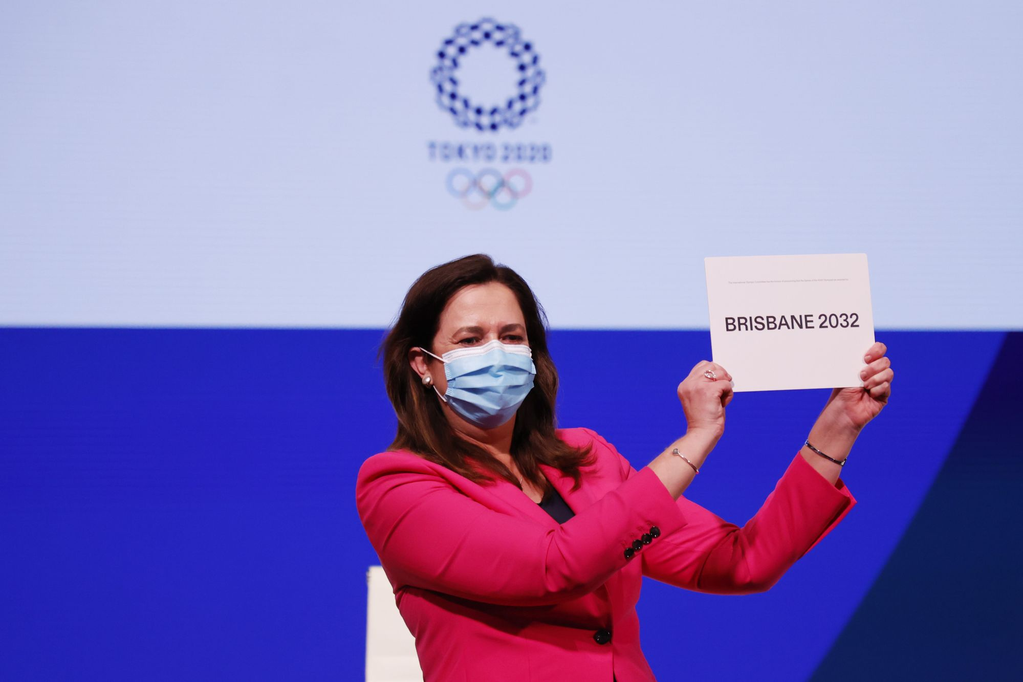 TOKYO, JAPAN - JULY 21:  The Honourable Annastacia Palaszczuk MP, celebrates after Brisbane was announced as the 2032 Summer Olympics host city during the 138th IOC Session at Hotel Okura on July 21, 2021 in Tokyo, Japan.  (Photo by Toru Hanai/Getty Images)