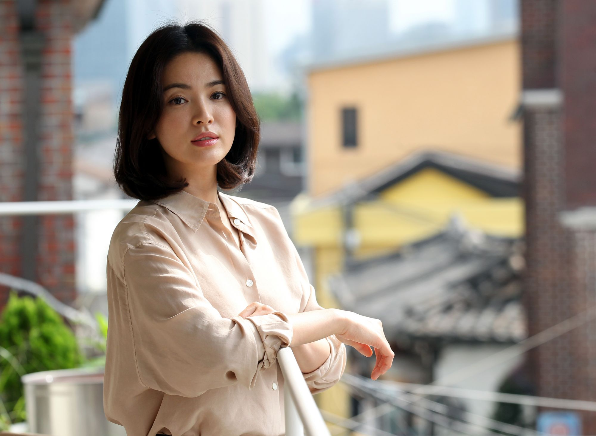 SEOUL, SOUTH KOREA - AUGUST 25:  Song Hye-Kyo poses for photographs on August 25, 2014 in Seoul, South Korea.  (Photo by ilgan Sports/Multi-Bits via Getty Images)