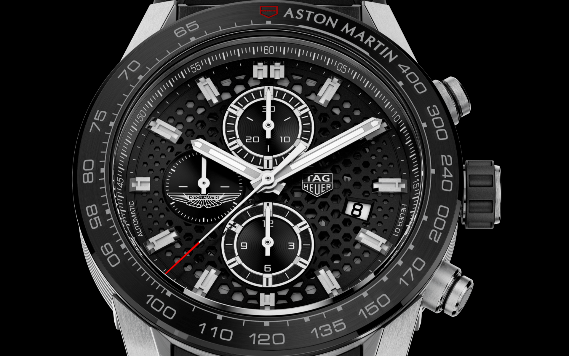 The Carrera Calibre Heuer 01 for Aston Martin features hexagonal cutouts on the dial (Photo: TAG Heuer)