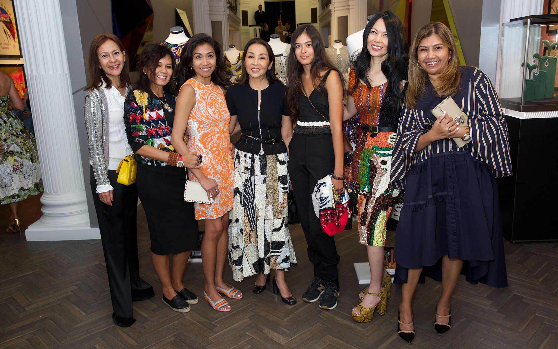 Dato' Zaha Rina Zahari, Delia von Rueti, Raisa Sufian, Dato' Seri Farah Khan, Sarah von Rueti, Datin Chai Schnyder and Datin Alissa Fitri