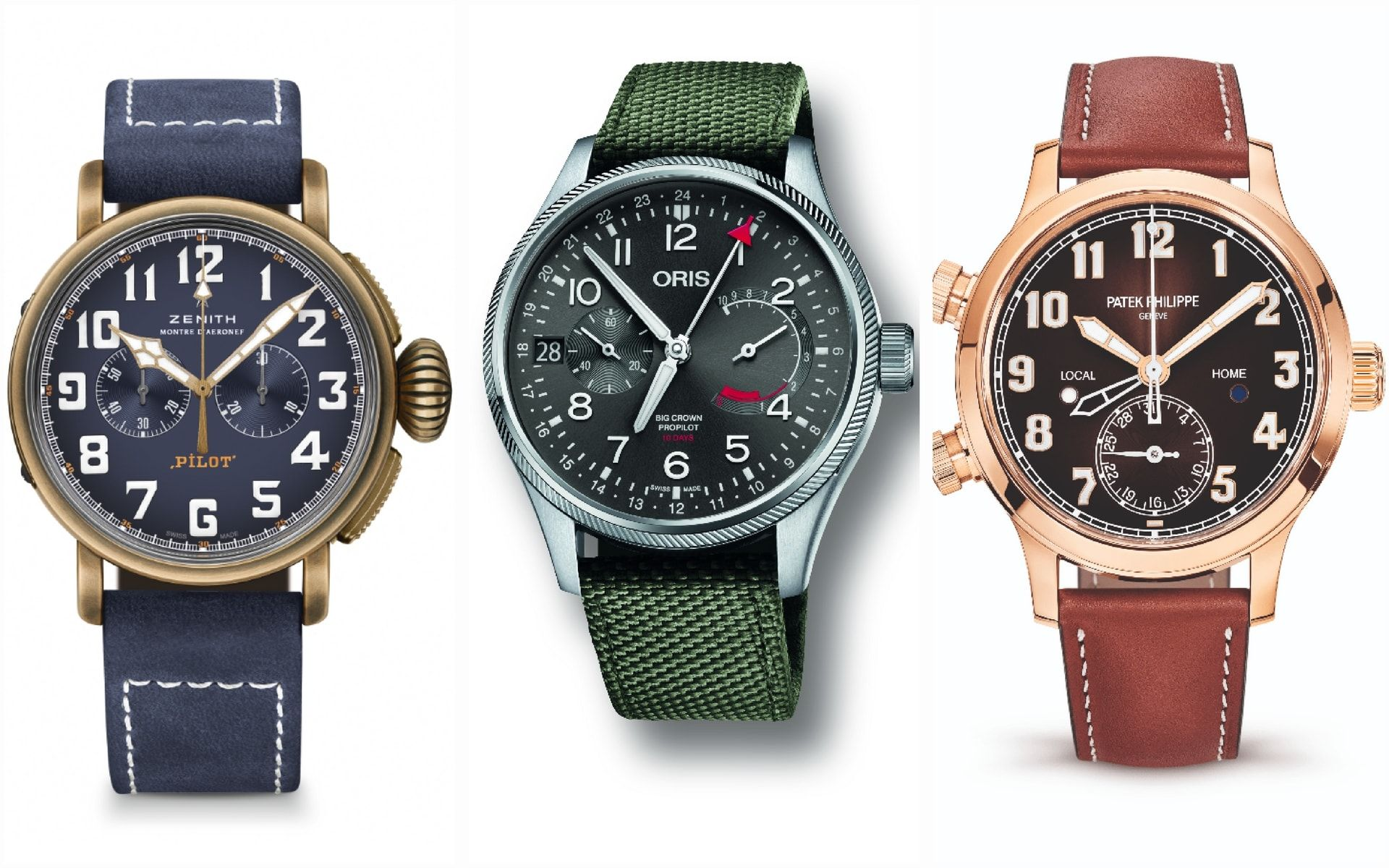 From left: Zenith, Oris and Patek Philippe (Photos: Respective brands)