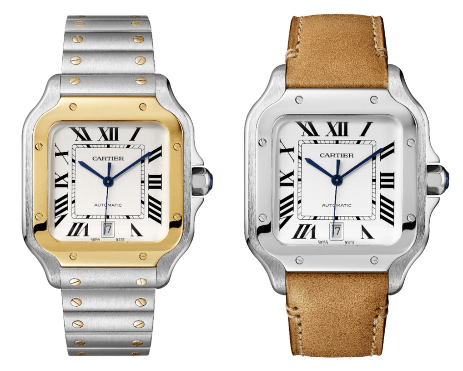 Santos de Cartier in gold with bracelet and Santos de Cartier in steel with bracelet. (Photo: Cartier)