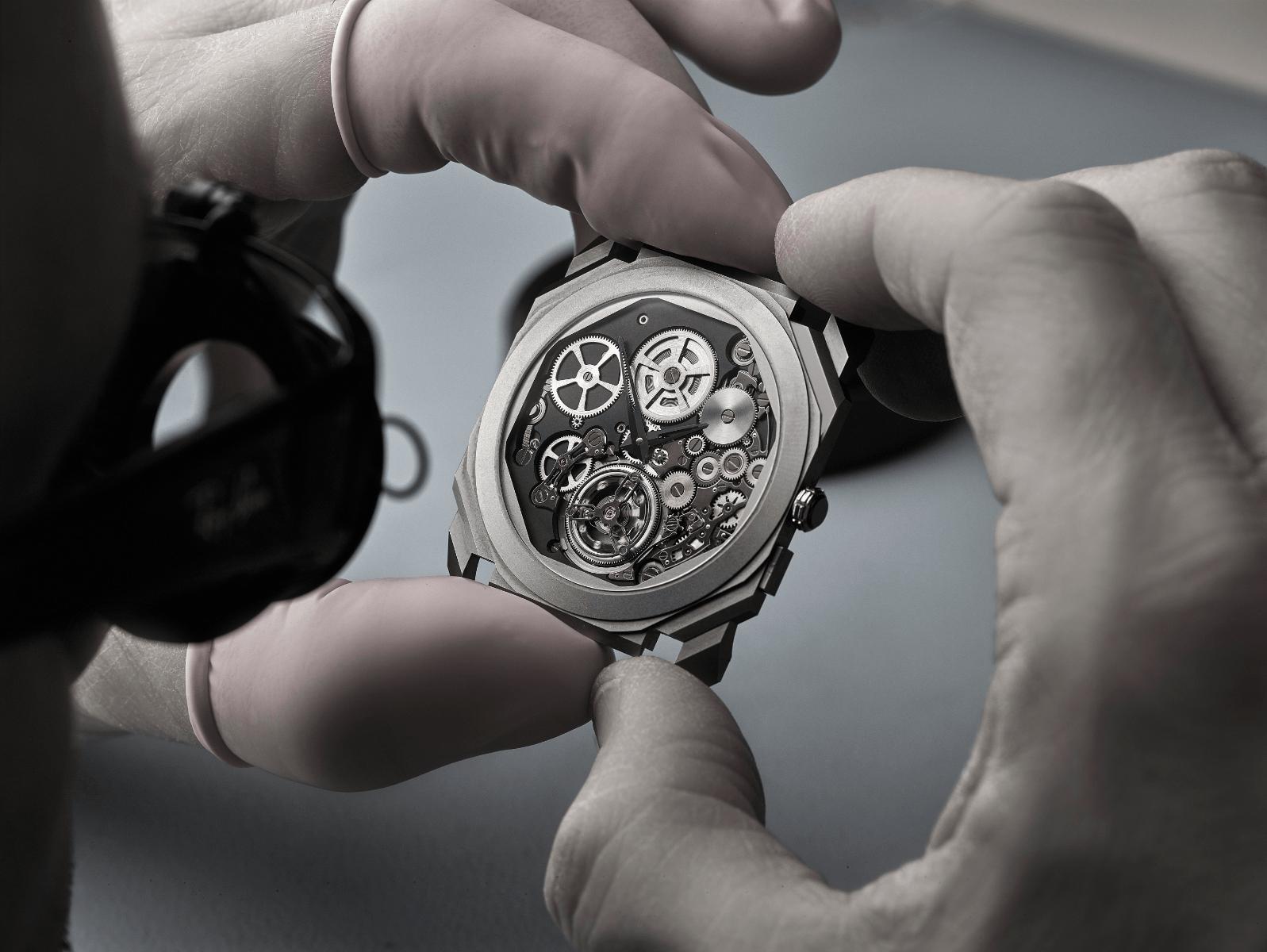 A watchmaker working on the ultra-thin Bulgari Octo Finissimo Tourbillon Automatic. (Photo: Bulgari)