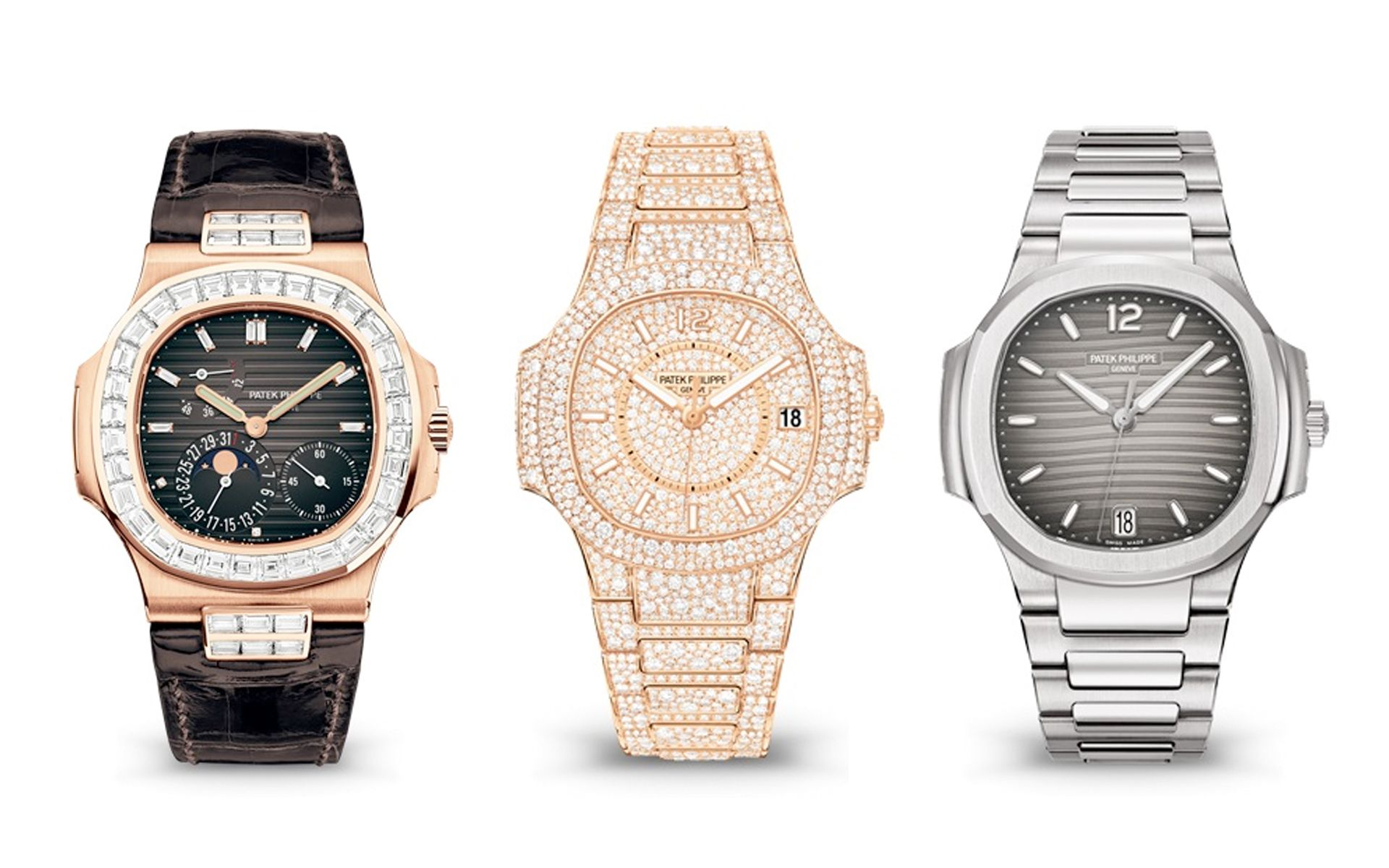 The 5724R-001 in Rose Gold, 7021/1R-001 in Rose Gold, and 7118/1A-011 in Stainless Steel.