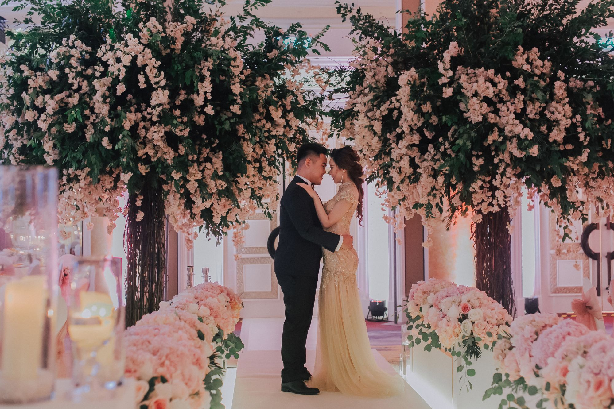 Andrew Tan and Melisa Lee at their fairytale wedding.