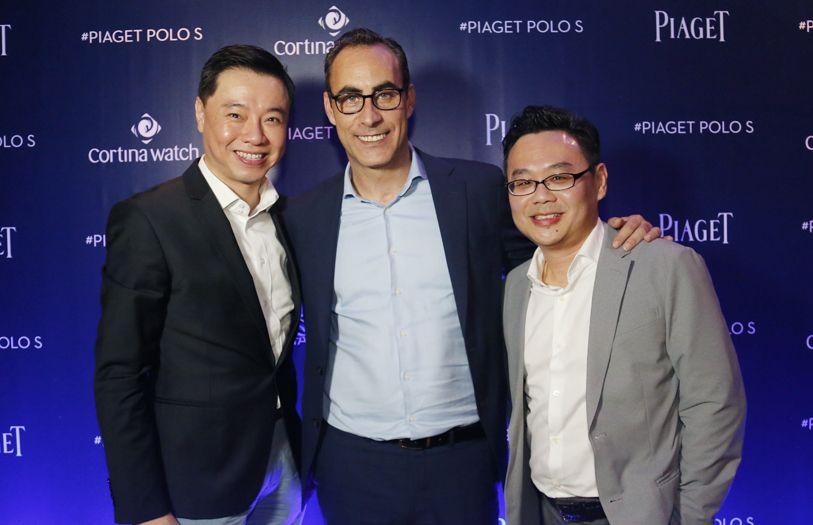 Tay Liam Khoon, managing director of Cortina Watch, Eduardo Tartalo, managing director of Piaget and Jason Tham