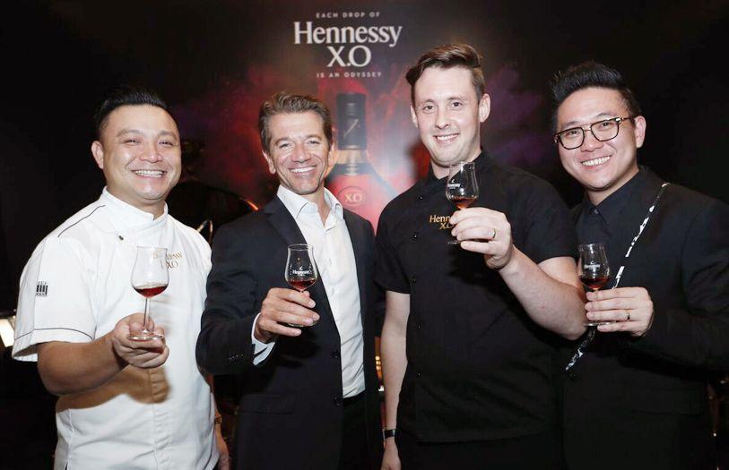 Chef James Won; managing director of MHD Malaysia & Singapore, Mathieu Duchemin; Chef Nurdin Topham; and MHD Malaysia marketing director, Foo Ken Vin