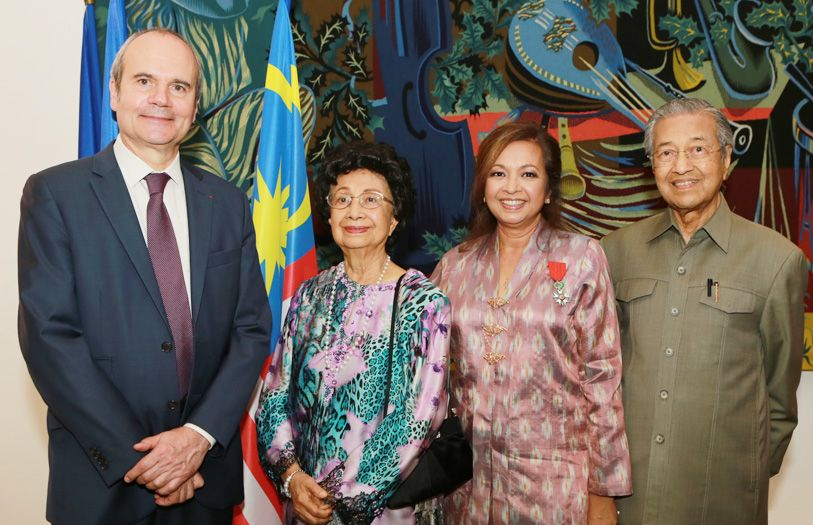 Ambassador of France to Malaysia HE Christophe Penot, Tun Dr Siti Hasmah, Datin Paduka Marina Mahathir and Tun Dr Mahathir Mohamad