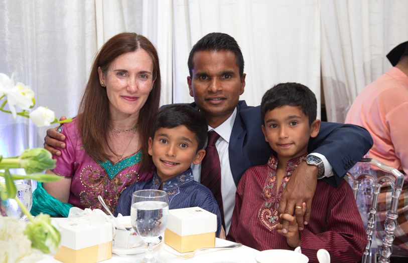 Dr Gema Perez Marin, Dr Velauthan Rudralingam with their two boys, Arun and Akash