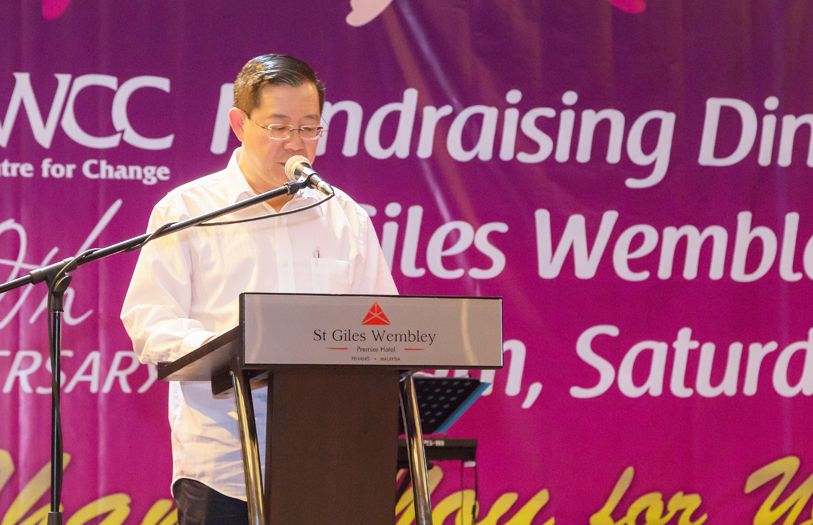 Penang Chief Minister YB Lim Guan Eng giving a speech thanking WCC for their continuous efforts to stop violence against women