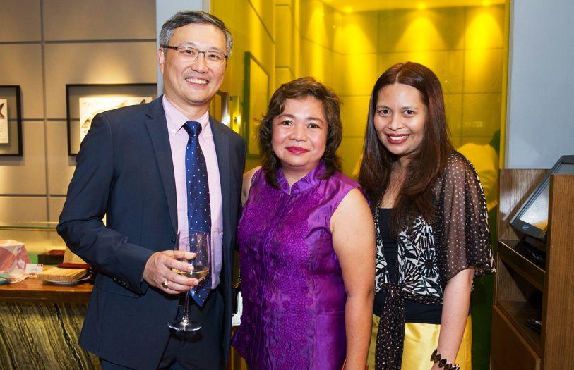 (L-R) Managing Director of Kampachi Restaurants, Donald Lim; Nuraziah Daud and Dalila Daud