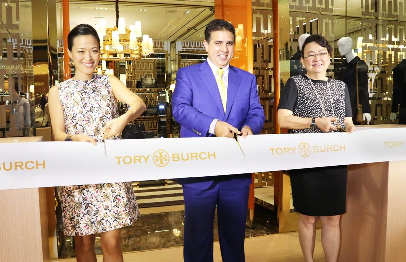 (L-R) Executive Vice President of Tory Burch New York, Lydia Park Forstmann; Director of Valiram Group, Ashvin Valiram and CEO of Pavilion KL, Joyce Yap