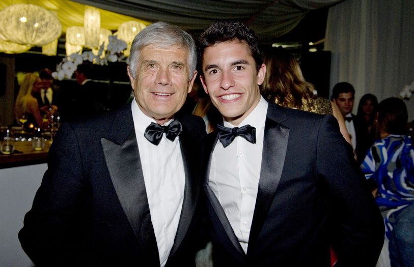 Italian multi-time world champion Grand Prix motorcycle road racer, Giacomo Agostini and Marc Marquez