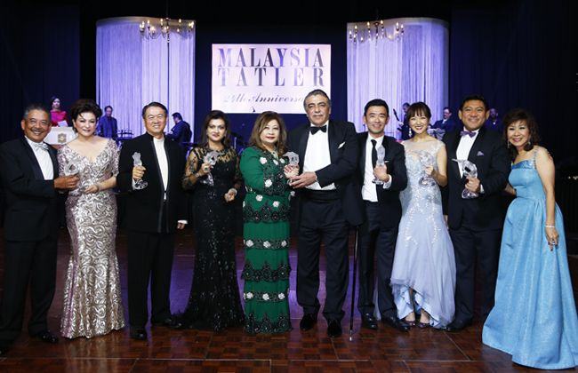 This year's Malaysia Tatler award winners. All winners received a Lalique trophy, a Rimowa suitcase and special individual prizes.