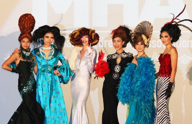 Hair models parading their extravagant hairdos
