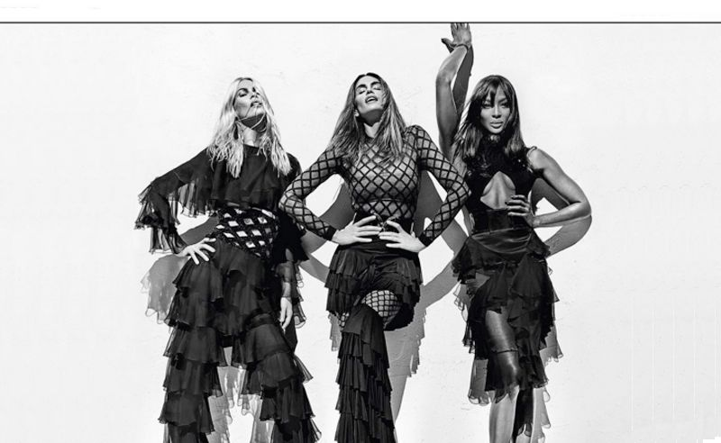 Naomi Campbell, Cindy Crawford and Claudia Schiffer star in Balmain campaign