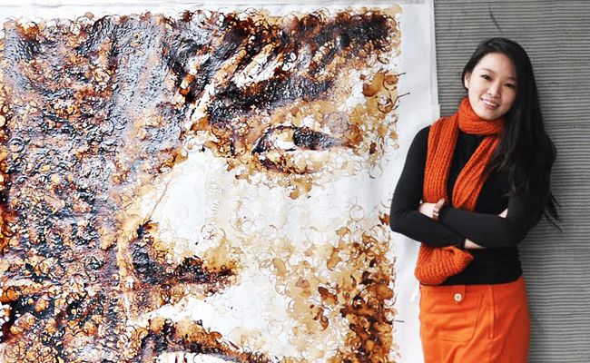 Red Hong Yi paints Jay Chou with coffee stains