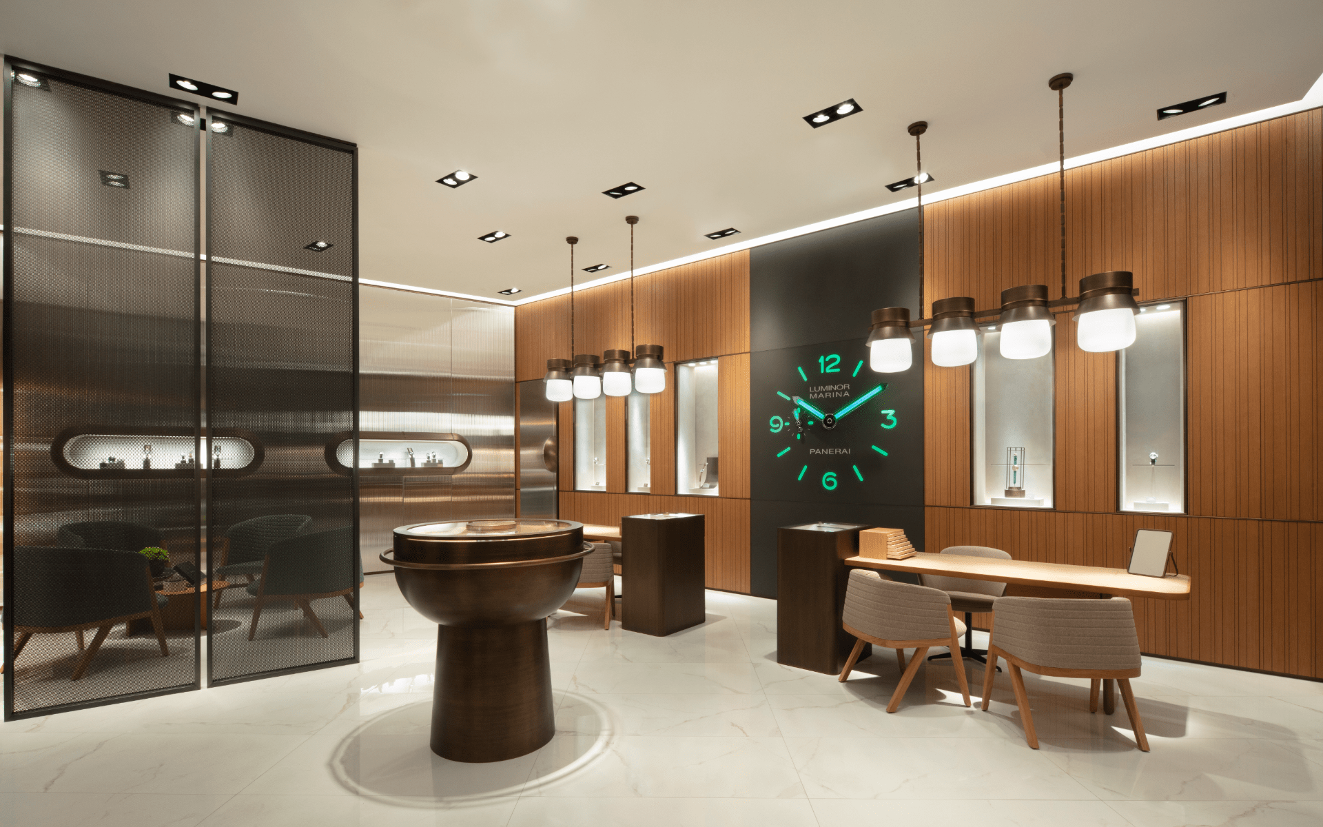 The marine dial and illuminated wall clock add a unique character to the space