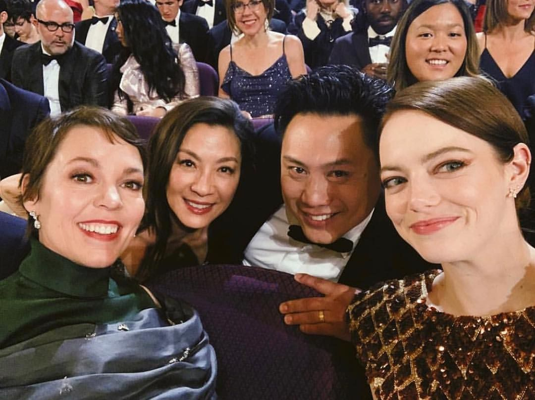 Michelle Yeoh with director, John M Chu and the cast of 'The Favourite'; Olivia Colman and Emma Stone (Photo: @michelleyeoh_official)