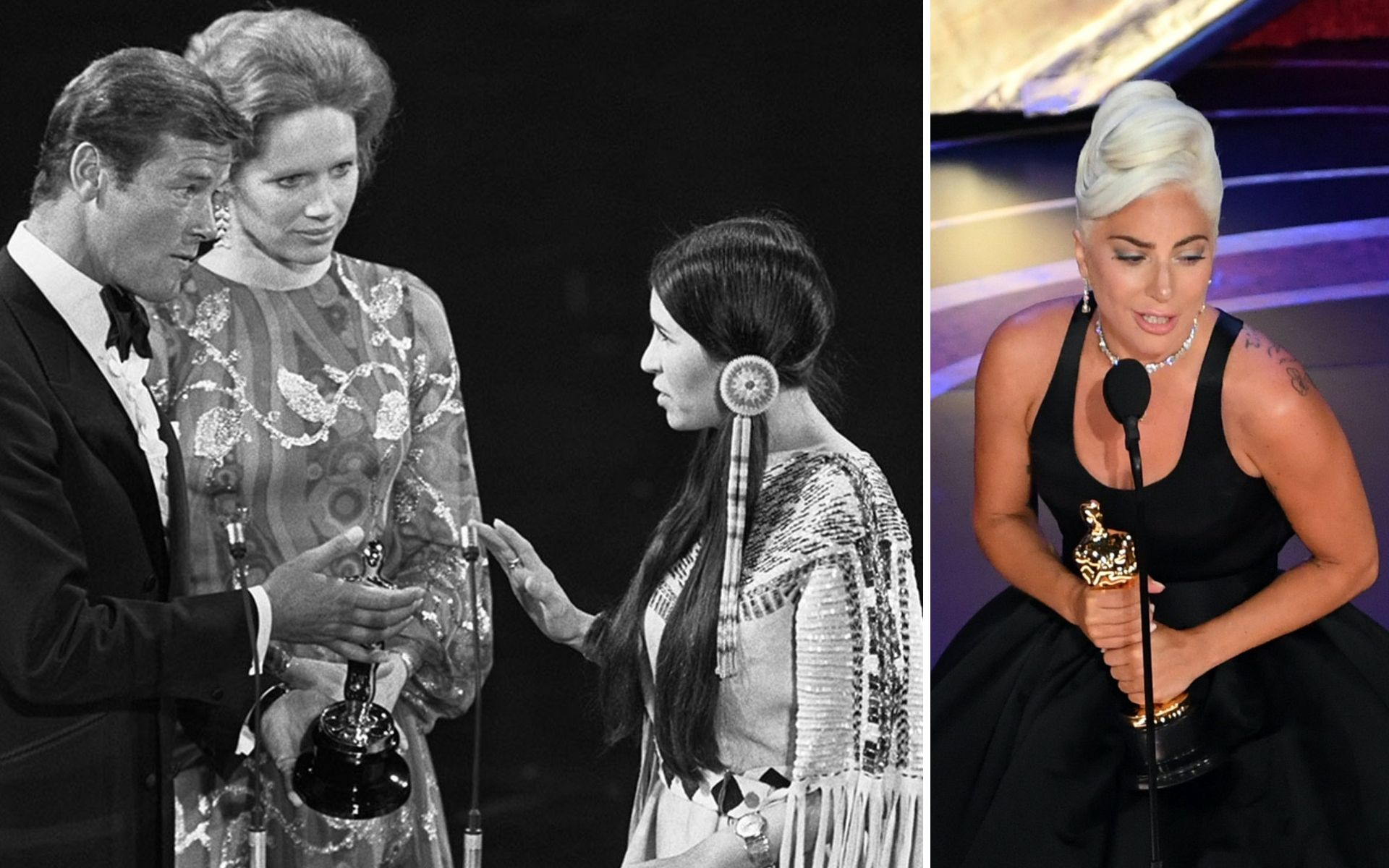 Sacheen Littlefeather and Lady Gaga