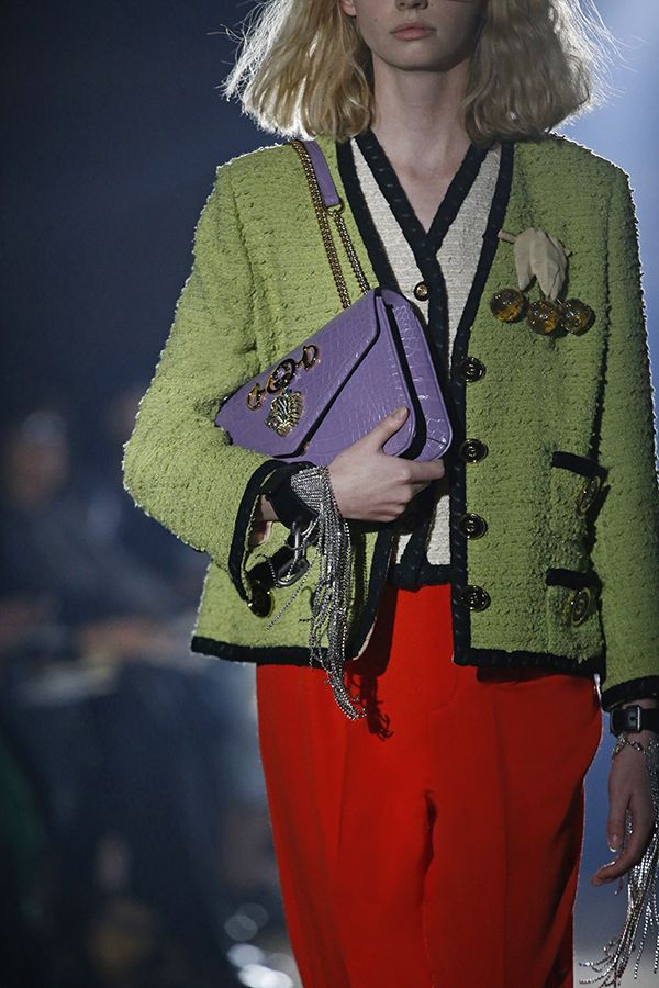 53531f3035f A clash of colours were a frequent theme on the runway. Close up of a Gucci  Rajah hardware