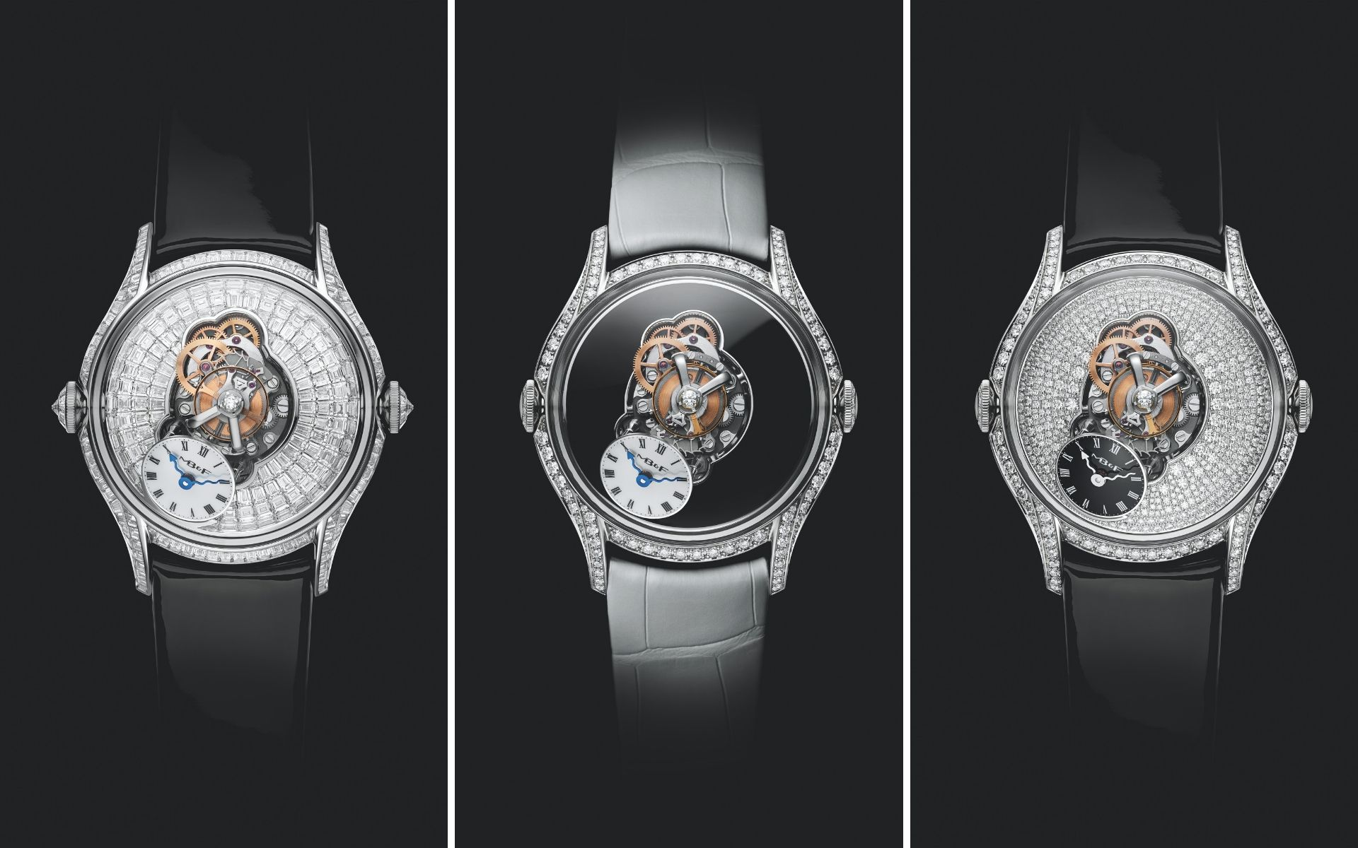 LM FlyingT in fully set baguette diamonds, with black lacquer dial and fully set brilliant cut diamonds