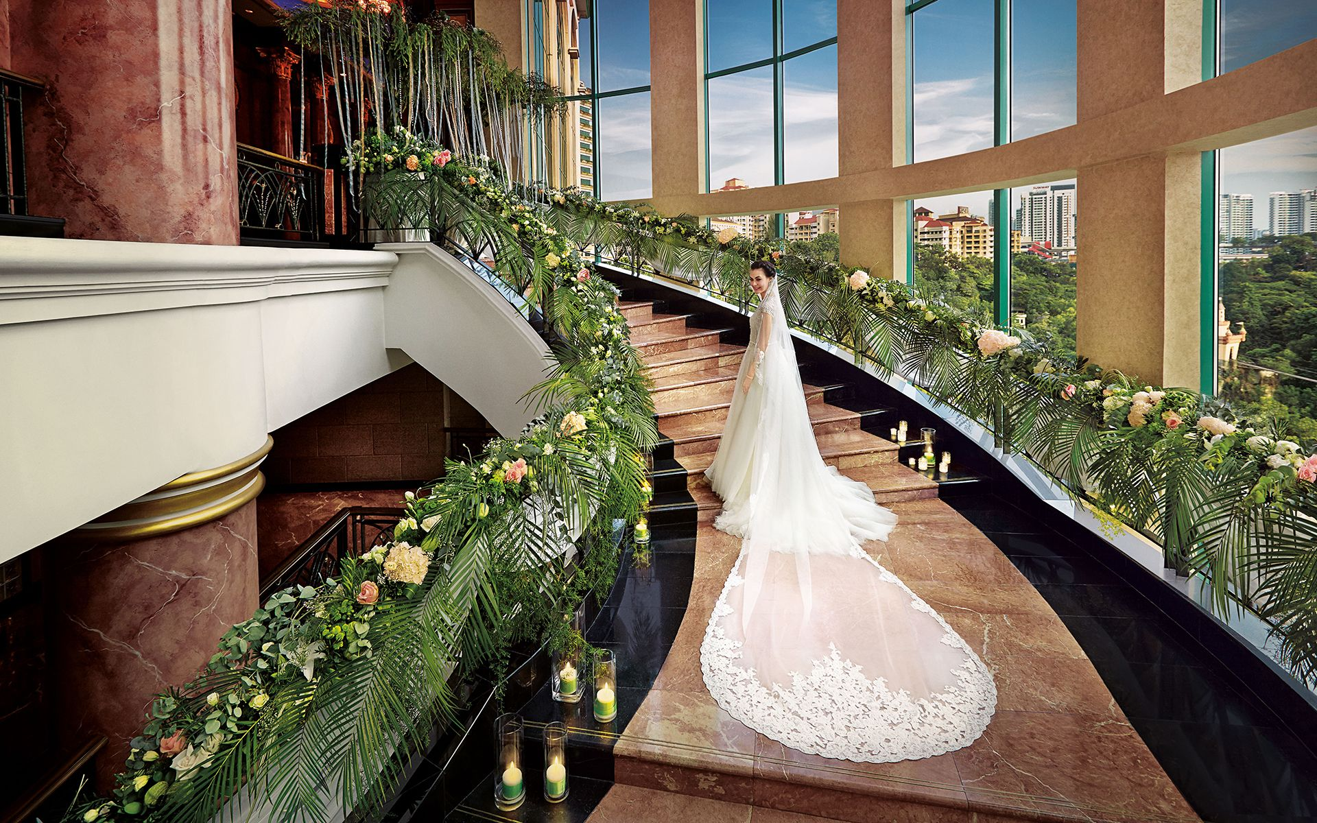 Stairway to wedded bliss, surrounded by panoramic views of Sunway City and its lagoon