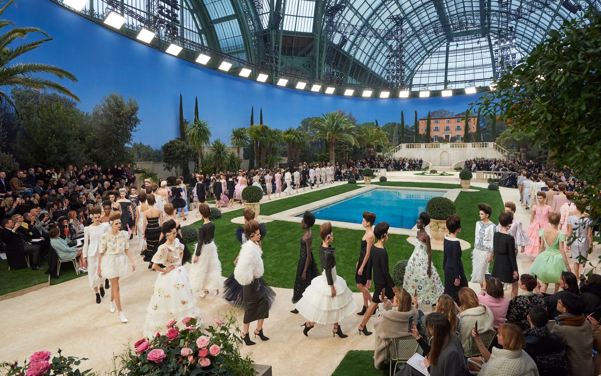 The iconic Grand Palais is converted into the serene poolside of a Mediterranean mansion (Photo credit: Chanel)