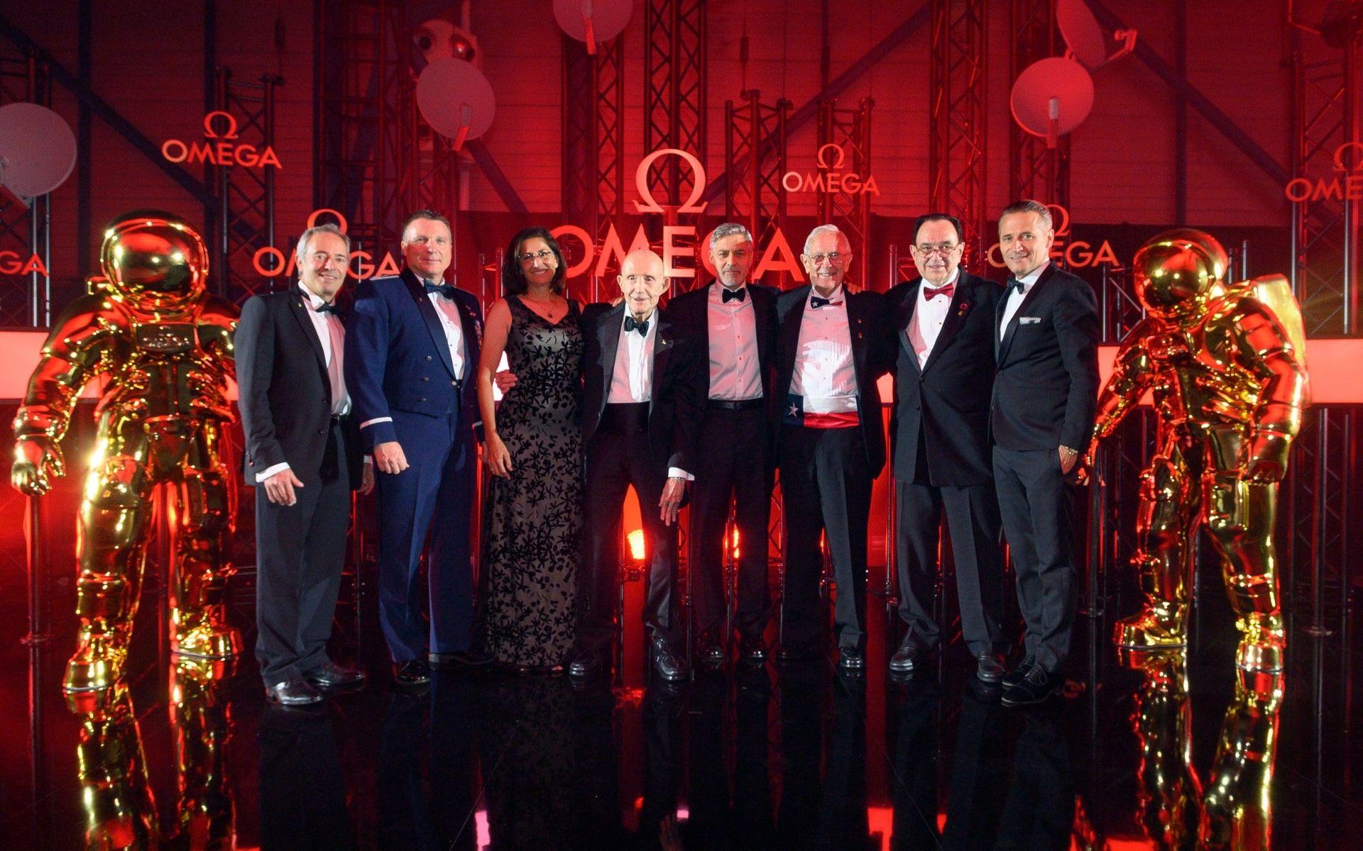 Jean-François Clervoy, Terry Virts, Nicole Stott, Thomas Stafford, George Clooney, Charlie Duke, James Ragan and Raynald Aeschlimann