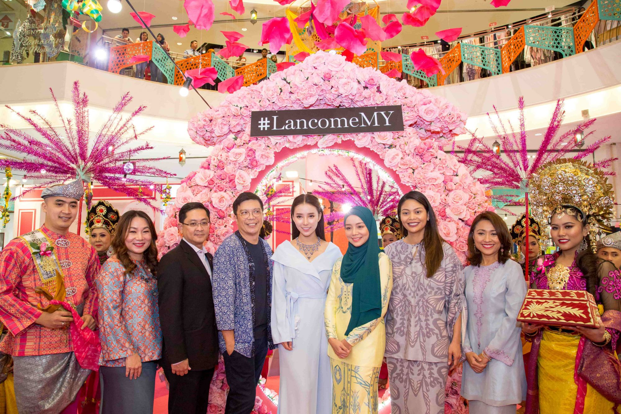 Sogo KL team, VIPs and Lancome Malaysia gather for a photo op at the buka puasa event