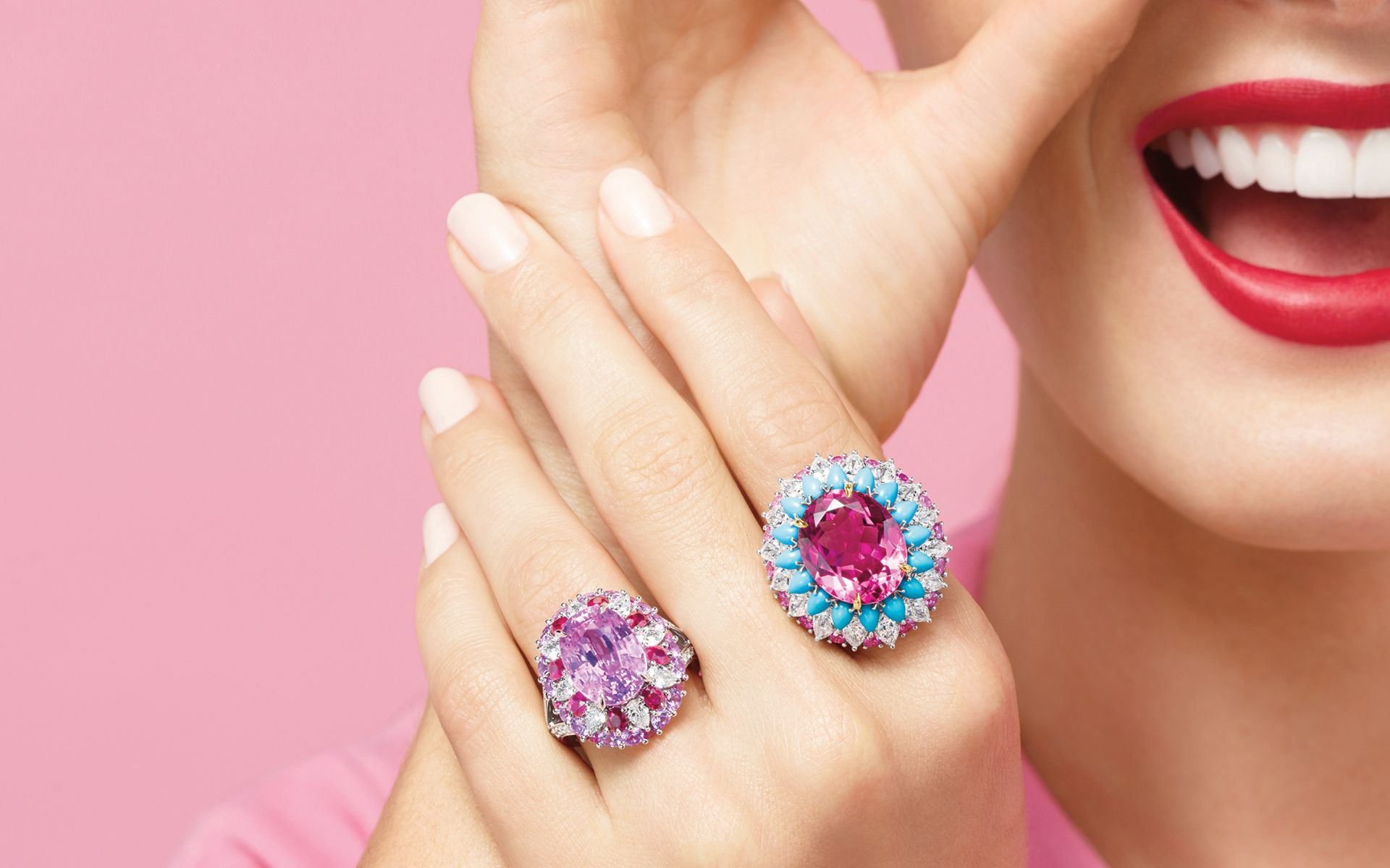 Winston Candy by Harry Winston coloured stones and cocktail rings in opposing shades