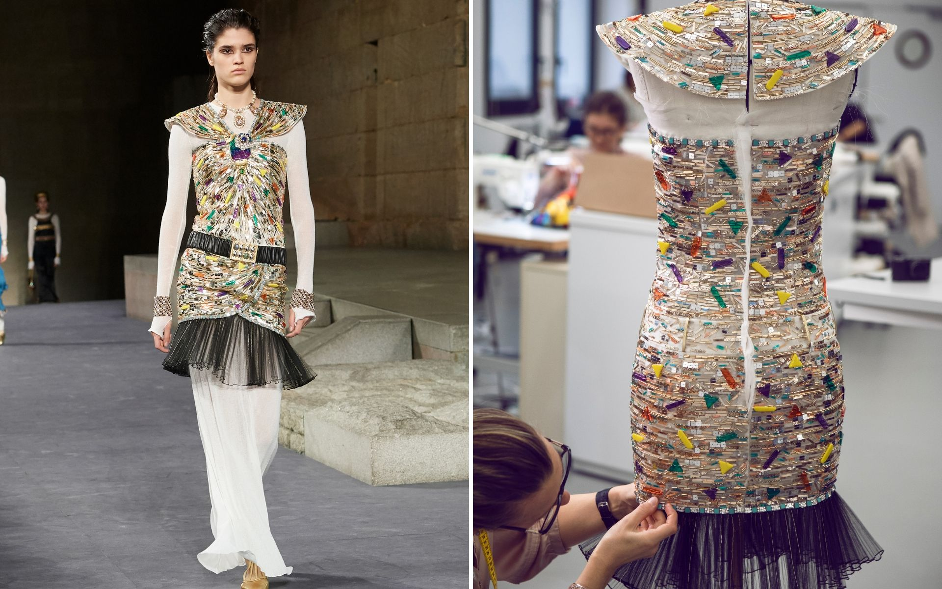 The making of Look 70 at the Chanel Paris-New York Métiers D'art Show