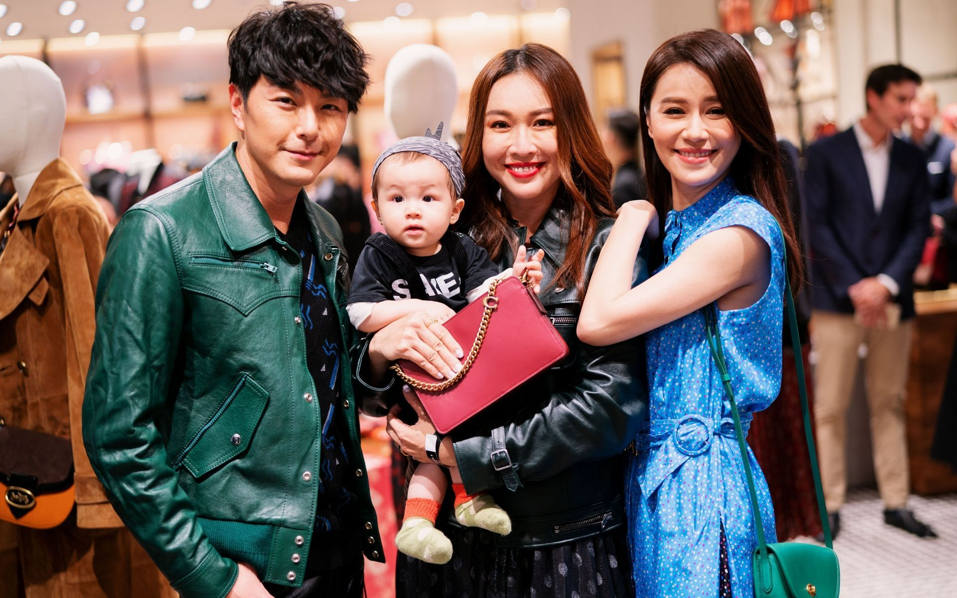 Edwin Siu, Debbie Goh and Priscilla Wong with Goh's baby, Danton Lee
