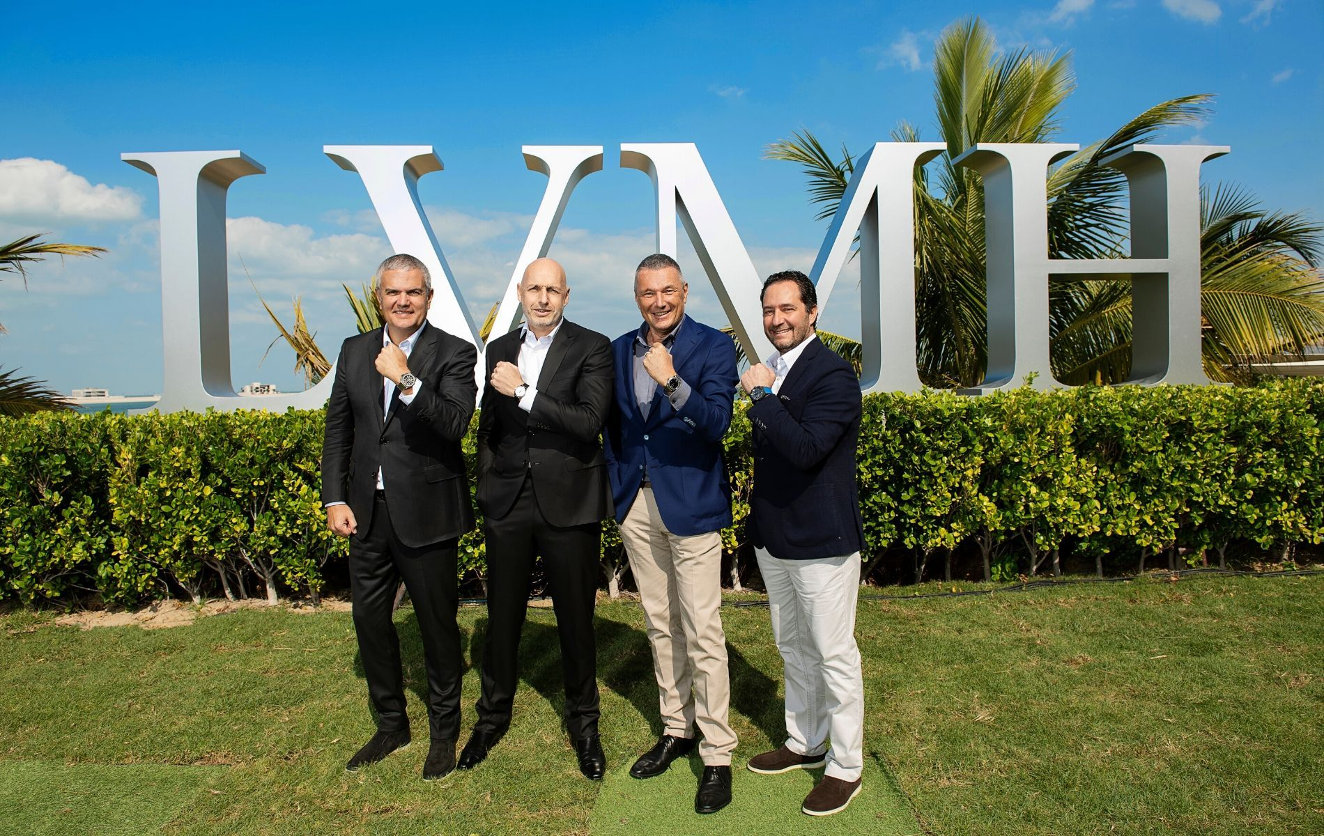Ricardo Guadalupe, Stephane Bianchi, Jean-Christophe Babin and Julien Tornare representing Hublot, TAG Heuer, Bvlgari and Zenith respectively at LVMH Watch Week in Dubai earlier this year