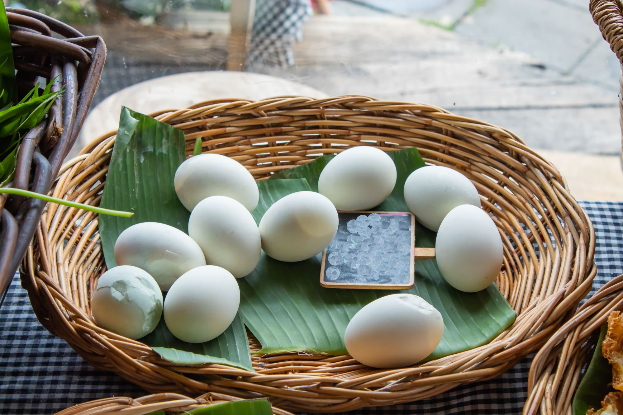 Salted eggs on a banana leaf
