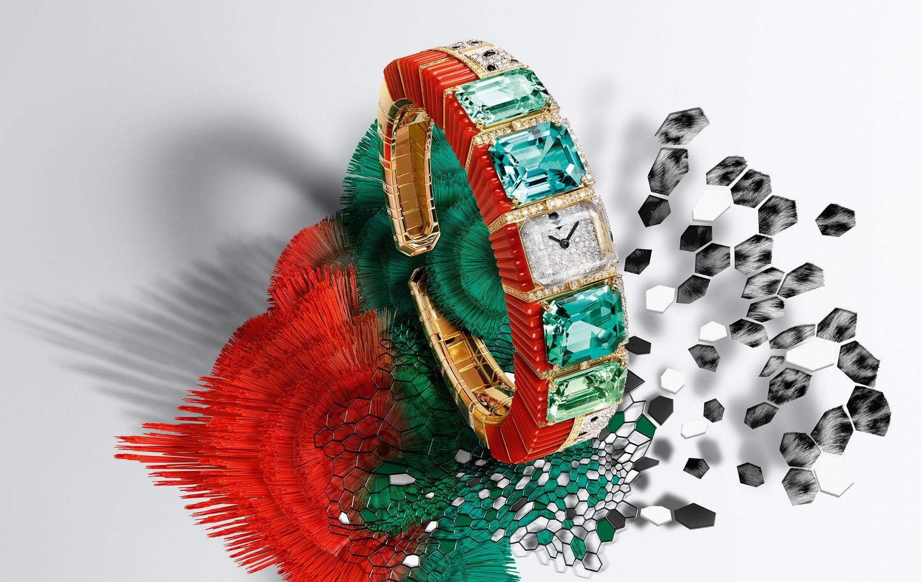 Panthère Tropicale wristwatch endowed with tourmalines, aquamarines, coral and diamonds