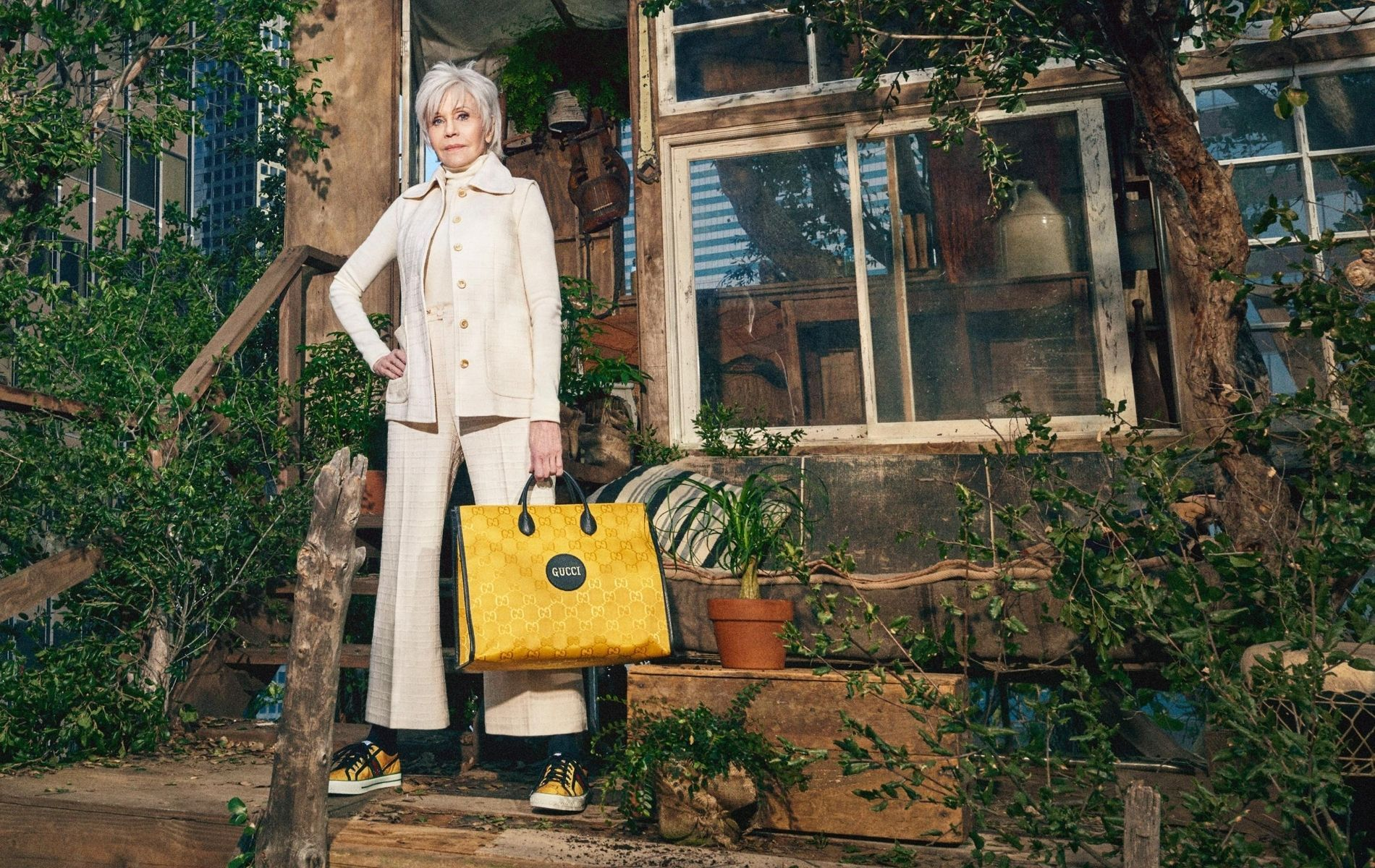Jane Fonda with Off The Grid tote bag in yellow