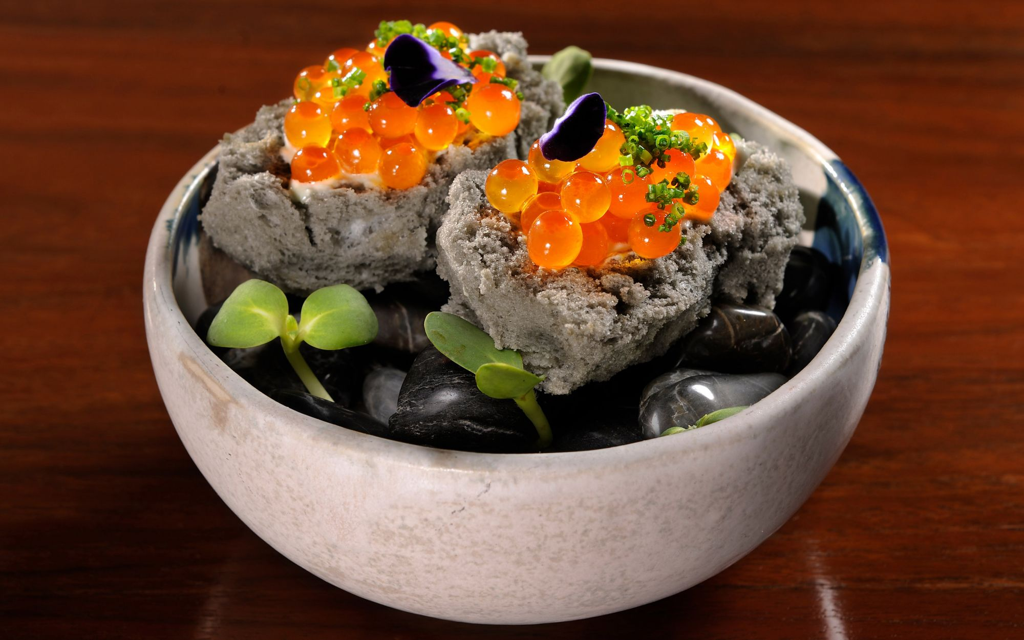 Ikura Charcoal Sponge with Wasabi Cream