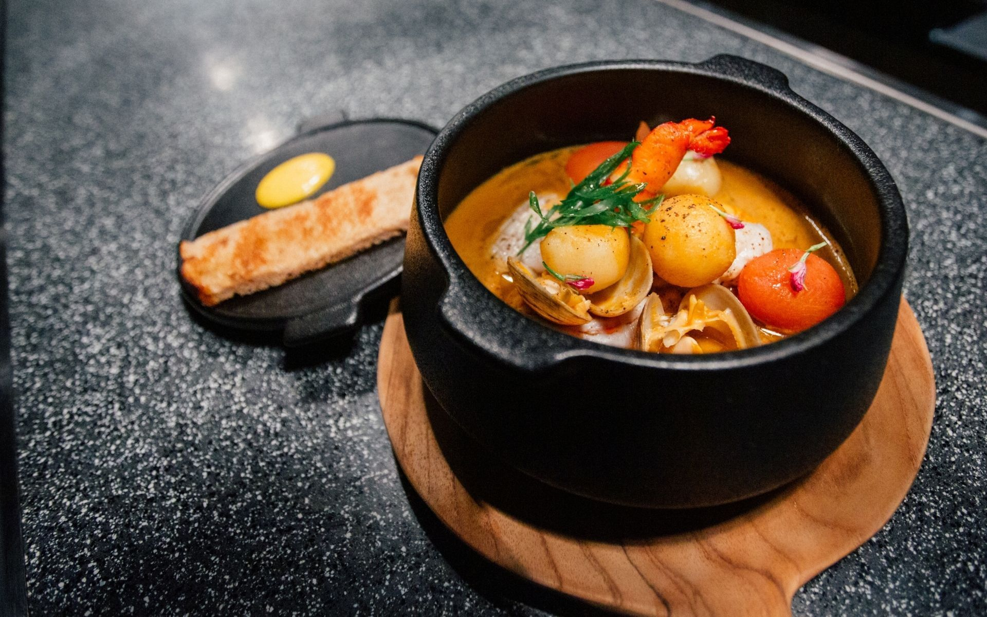 Brimming with fresh ingredients, the seafood bouillabaisse at Ambara is wonderfully authentic